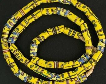 Strand of antique yellow French cross Venetian beads African trade. b1-853cs(e)