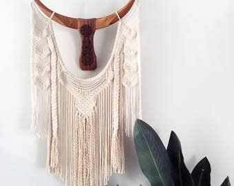 Macrame Wall Hanging with beautifully lazer etched wooden horns