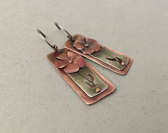 Mixed metal floral earrings, riveted flower earrings, silver and copper textured earrings