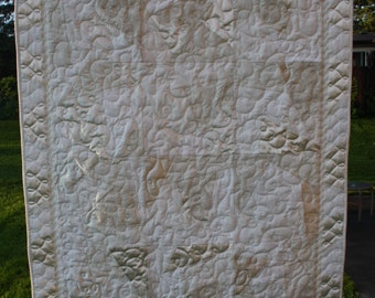 Baby Quilt - Christening, Wedding Dress, Lace