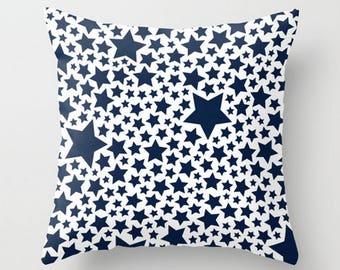 Stars Throw Pillow, Navy White Decorative Pillow Cover, Blue Cushion Cover and Insert, 16x16 18x18 20x20 26x26, Modern Toss Pillow