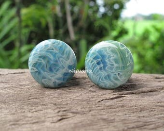 "Exotic Light Blue Stone Plugs Pyrex Glass One Pair 00g 7/16"" 1/2"" 9/16"" 5/8"" 3/4"" 1"" 9.5 mm 10 mm 12 mm 14 mm 16 mm 18 mm 20 mm 25 mm"