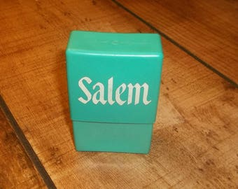 SALEM Cigarette Case - Turquoise Color, Plastic, Vintage 70's 80's Tobacciana, Plastic for Soft Pack Cigarettes, Methol, Newports