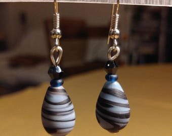 Blue and black lampwork glass beads earrings