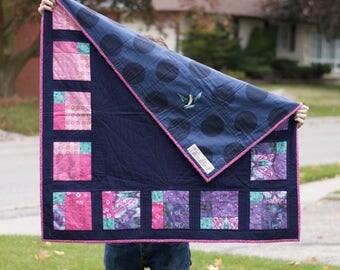 Modern Lap Quilt - Modern Baby Quilt - Heirloom - Embroidered Affirmation