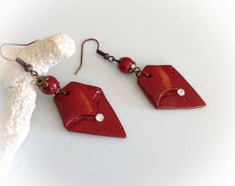 Stud Earrings, ethnic, brick red trapezoid, polymer clay.