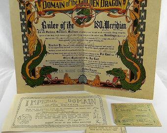 WWII Domain of the Golden Dragon SS Marine Eagle International Dateline certificates