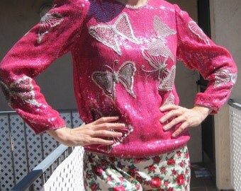 1980s Sequin Top Fuchsia Bright Pink Butterfly Silver Beaded Iridescent Sequins Sparkly Judith Ann Blouse Long Sleeve Shirt sz Medium b 39