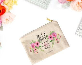 Floral Bridal Cosmetic Bag-Bridal Party Makeup Bag-Personalized-Bachelorette-Makeup Bag for Bridesmaid-Fun & Inspirational Gifts