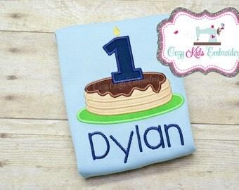 Pancake Shirt, Pancake Birthday Shirt, Birthday Shirt, Boys Birthday Shirt, Personalized Birthday Shirt, Pancake Applique, Embroidery