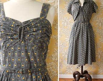 vintage 1950s cotton print dress and jacket <> 1950s gray cotton dress and bolero jacket <> 50s sundress and jacket set