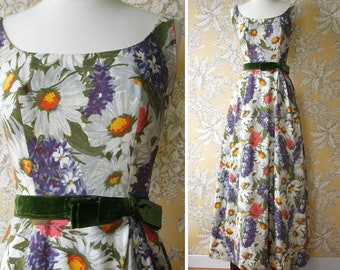 vintage 1960s floral gown <> 1960's cotton floral print long dress <> 60s formal dress with bold flower print