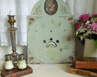 Beautiful distressed 19th Century hand-painted clock face