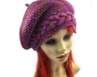 Pink and Purple Slouch beanie, winter hat, pixie hat, festival hat, ladies woolly beanie, Summer hat Slouchy elven beanie Slouchy beanie