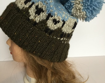 Hand Knit Sheep Hat, Baa-ble Hat, 100% Wool
