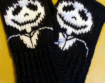 Jack Skellington Nightmare Before Christmas Fingerless Gloves Wrist Warmers