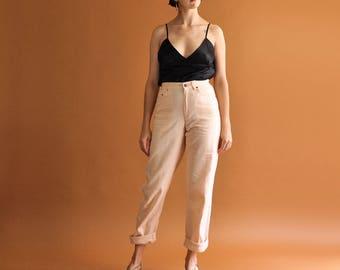 Minimal Peach Trousers, High Waist Trousers, Peach Linen Pants, Loose Tapered Pants, Vintage 90s Liz Claiborne Pants, Casual Pants Size 4