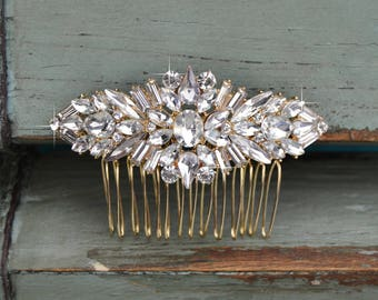 Gold Small Crystal Wedding Hair Comb, Rhinestone Bridal Comb, Wedding Hair Comb, Headpiece, Vintage Bridal Side Comb CO-027