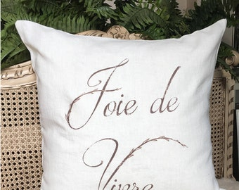 French Linen Pillow. Joie de Virve. French Country Pillow. Cottage Pillow. French Script Pillow.