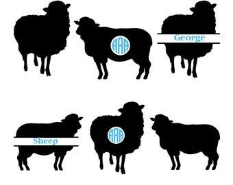 Sheep SVG cut file, sheep monogram svg, farm animals svg, animals svg, farm svg, vector, sheep silhouette, Cricut files, svg, dxf, eps, png.