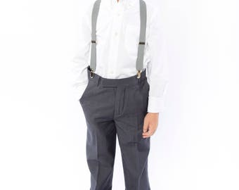 Light Gray Suspenders -- Baby Suspenders, Toddler Suspenders, Boy Suspenders, Adult Suspenders