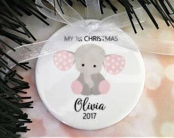My First Christmas Ornament, Baby Ornament, Baby Ornaments, Baby Girl Ornament, Baby Girl Ornaments, Baby Elephant Ornament, Baby Gift