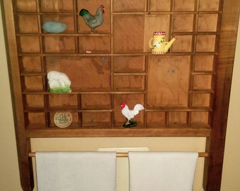 Vintage Hamilton Printers Drawer Shadowbox Shelf with Towel Bar FREE TEA TOWEL!