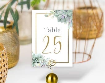 Succulent Wedding Table Numbers / Greenery and Gold Geometric / Green Cactus and Gold Calligraphy / PRINTED Table Numbers, Double-Sided