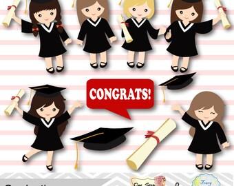 Graduation Girls Clipart, Girls Graduate DIgital Clip Art, Graduation Girl, Preschool kindergarten graduation Clipart, Graduate, Grad 00202