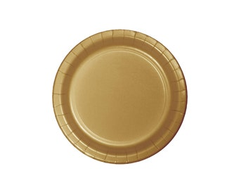 """9"""" Gold Plates - Party Plates - Paper Plates - First Birthday Party Decorations - Gold Party Supplies - Wedding Plates - Unicorn Party Decor"""