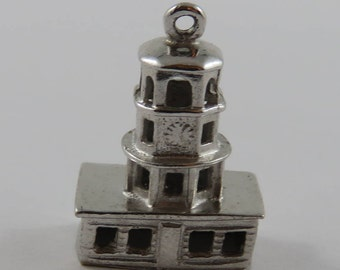Town Clock Halifax Nova Scotia Sterling Silver Vintage Charm For Bracelet