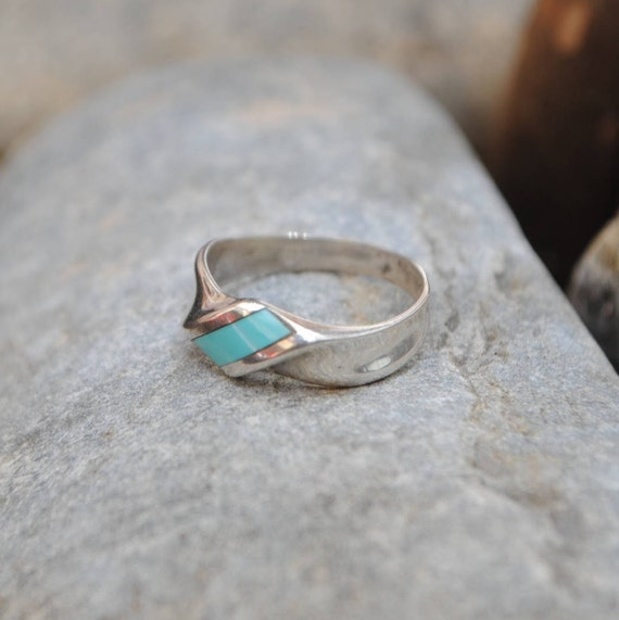 Turquoise and sterling silver circle vintage ring, native american ring, native american turquoise, vintage turquoise, vintage ring, vintage