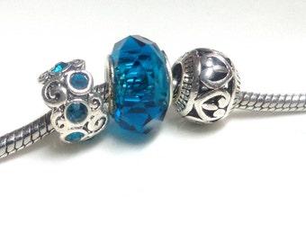 Lot of 3 Charms Indicolite blue European beads for bracelet 3mm