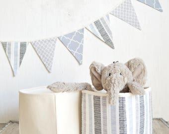 Grey storage basket and bunting set. Grey nursery decor. Baby shower gift. Toy storage bin. Nursery bunting banner. Woodland kids room