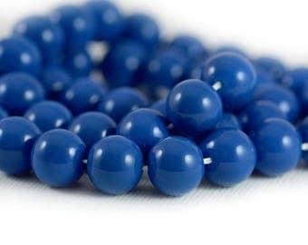 Czech Style Smooth Round Glass Druk Beads Opaque Lapis Blue 10mm