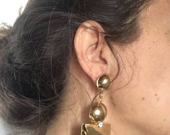 Vintage years ' 80 golden pendant earrings