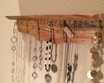 Rustic Tie Rack handmade from reclaimed barnwood hand forged