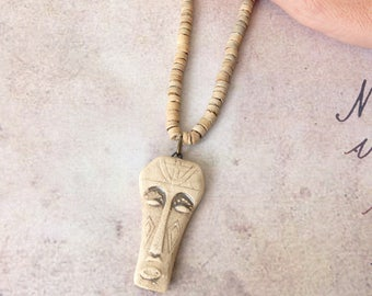 African Mens Necklace, African Mask Pendant, Totem Pendant, Voodoo Sorcerer, Tribal Ethnic, Mens Beaded Necklace, Mens Gift, Boyfriend Gift