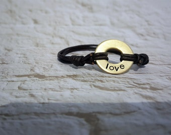 Personalized Washer Bracelet with Genuine Leather Cord