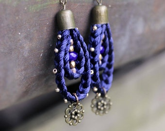 Navy blue earrings Girlfriend gift|for|sister Bohemian earring Summer party earring Modern earring Boho earring Gypsy jewelry Ethnic earring