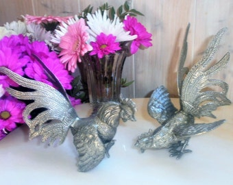 Antique french tableware set of sculptures fighting rooster birds / / Silvered Brass / / Table center / / Vintage Art Deco fighting cocks