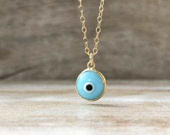 Gold Evil Eye Necklace, Protection Necklace, Evil Eye Choker, Evil Eye Gold, Choker, Girlfriend Gift, Dainty Necklace, Valentines Gift Women