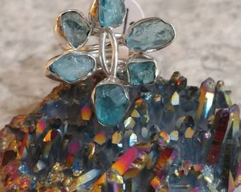 Neon Blue Rough Apatite Ring Size 7 1/2.