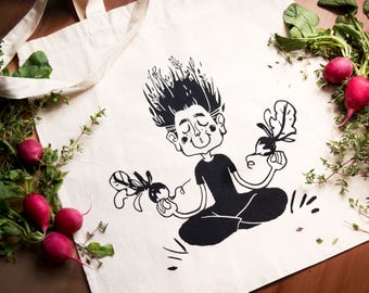 "Screenprinted Cotton Tote Bag ""The Veggie"""