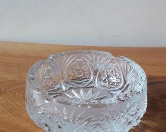 Vintage Round Heavy Cut Crystal Ashtray