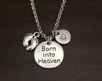 Born Into Heaven Necklace-Born Into Heart Jewelry-Miscarriage Memorial Jewelry-Baby Memorial-Memorial Necklace-Memorial Gift- I/B/H