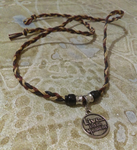 Live in the Moment Pendant Wrap Choker Necklace Tibetan Silver Waxed Cotton Plaited Black Brown Beige