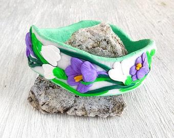 Solid Bangle flowers Nature bracelet Floral bracelet Polymer clay bracelet for girl friendly gifts Polymer clay bangle bracelet flowers