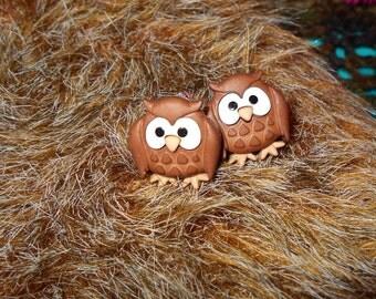 """Brown Owl Earrings, 1"""" button earrings, fun earring, owl jewelry, cute owl charm earring, jewelry, gift for her"""