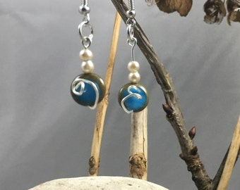 round blue and brown bead dangles